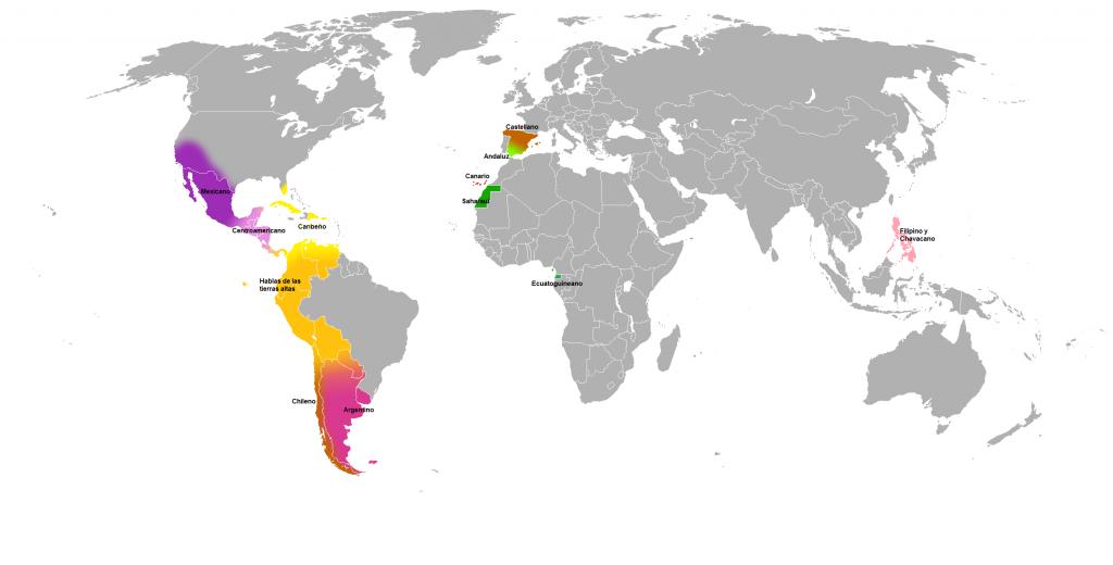 Principales variedades diatópicas del español. Fuente:  Hidra 92 (Wikimedia Commons)